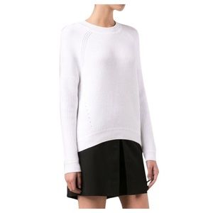 Vince White Mixed Ribbing Drop Shoulder Sweater